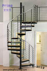 stainless steel handrails balustrade solid wood tread spiral stairs