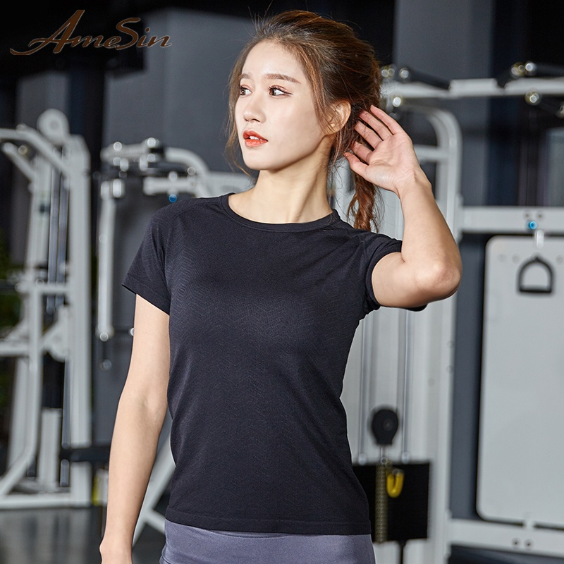 AMESIN YLT103 Active Private Label Sports T Shirt Für Frauen Crop Fitness Top