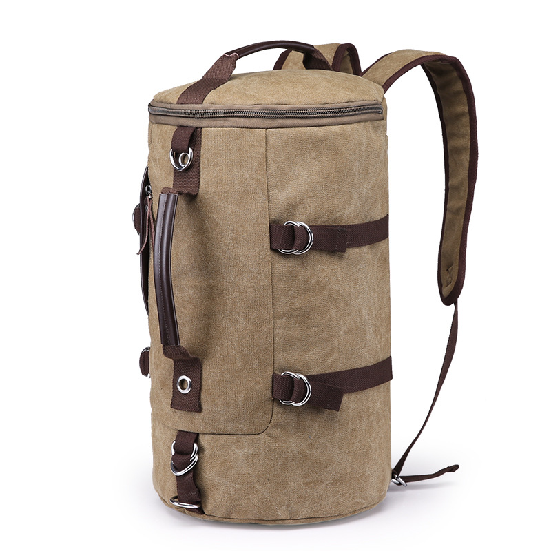 Baoding camping cylindrique Bagages voyage sac cylindre mignon week-end vintage lavé toile sac polochon
