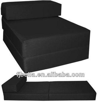Black Block Foam Folding Chair Bed Z Guest Futon In/Outdoor