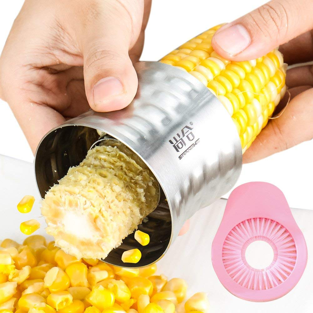 304 Stainless steel Cob Corn Stripper Corn Peeler Cutter Stripper Remover Thresher Kitchen Salad Tool With a multi-functional corn brush