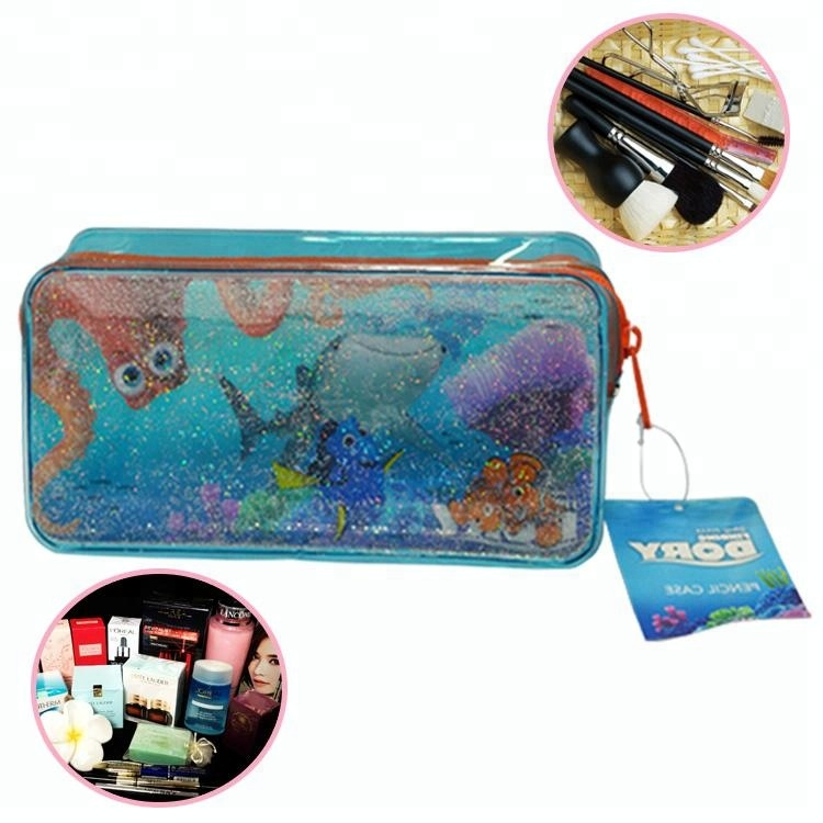 custom promotional gift items clear liquid glitter pvc pencil pouch