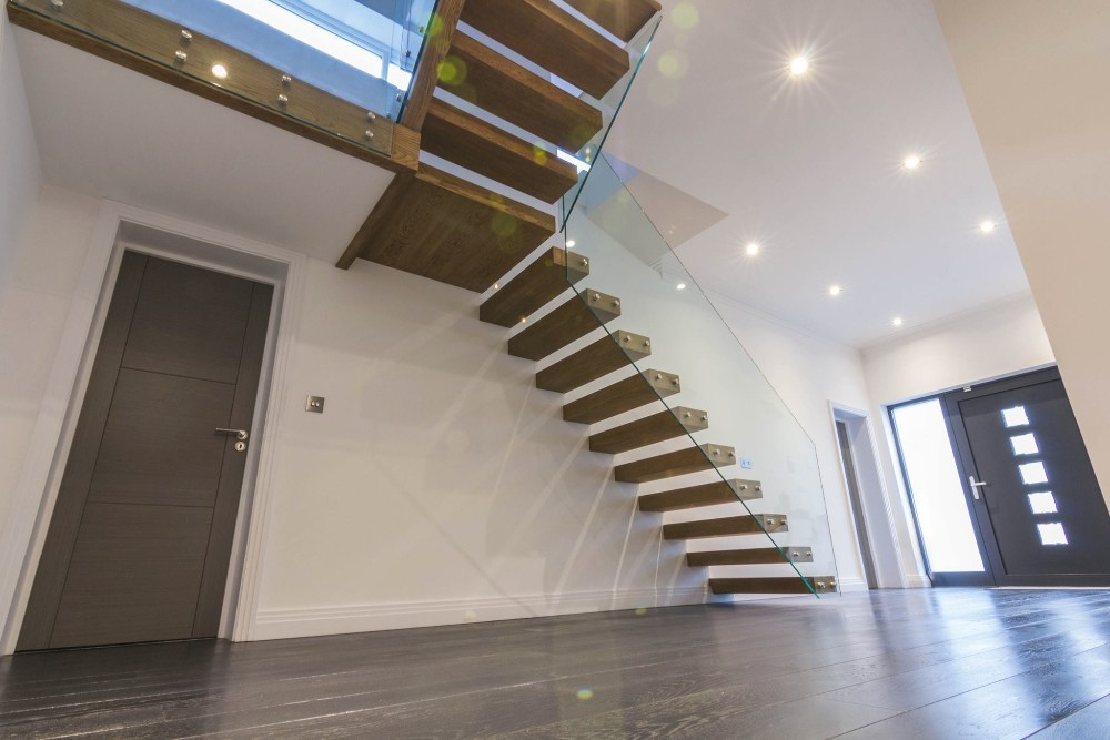 Invisible stringer for indoor prefabricated floating for Manufactured stairs