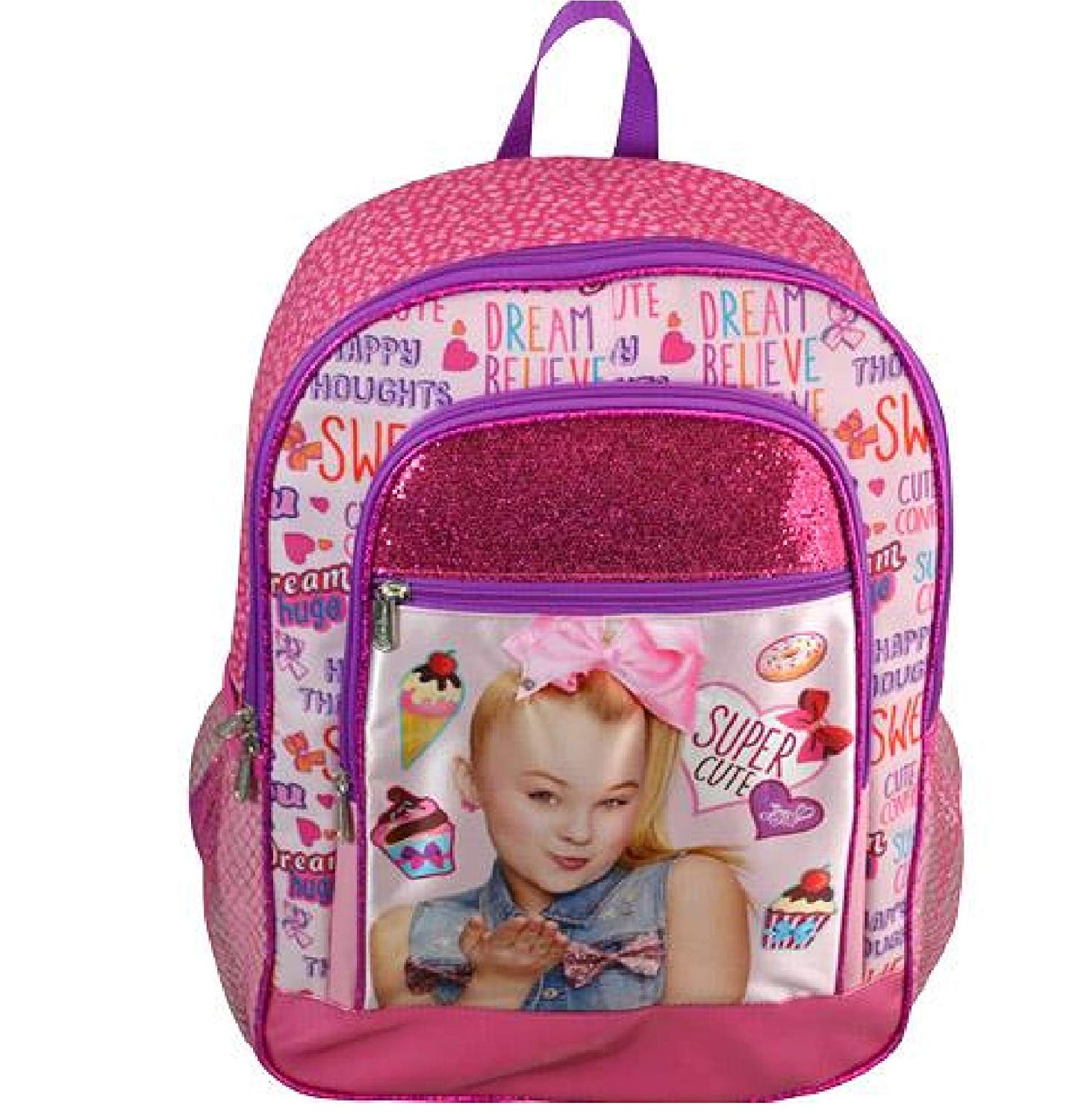 "JoJo Siwa 16"" Pink Glitter 2 Zipper Cargo Backpack Plus Signature Collection Hair Bow"