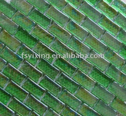 8mm thickness rectangle green glass mosaic tile,subway glass tile iridescent finish
