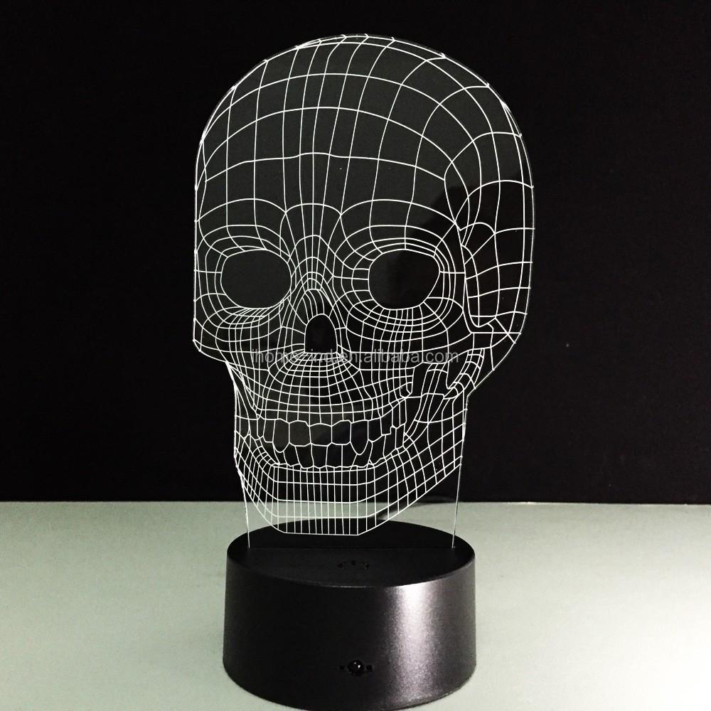 3d иллюзия череп светодио дный ночник декоративное украшение