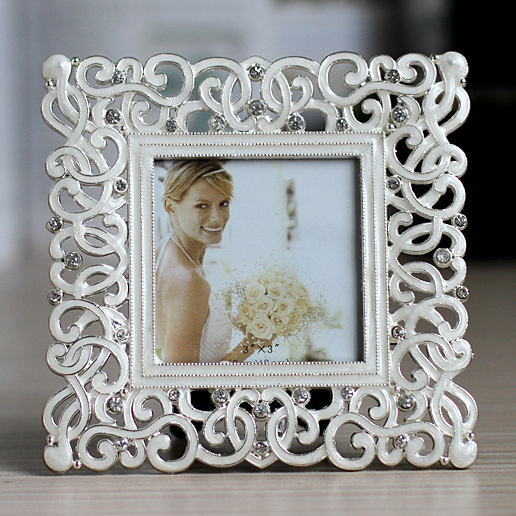 Shining Silver Tone Pearl White Enameled and Clear Crystal ...