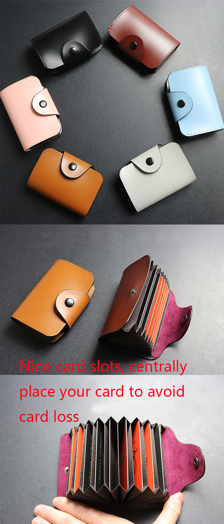 Simple PU leather 9 Cards Wallet Business ID Card Credit Men and Women Card Holders Low MOQ