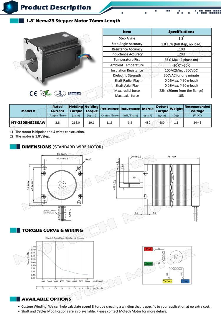 Nema 23 Cnc Machine Stepper Motor View Nema23 Motech Wiring Diagram