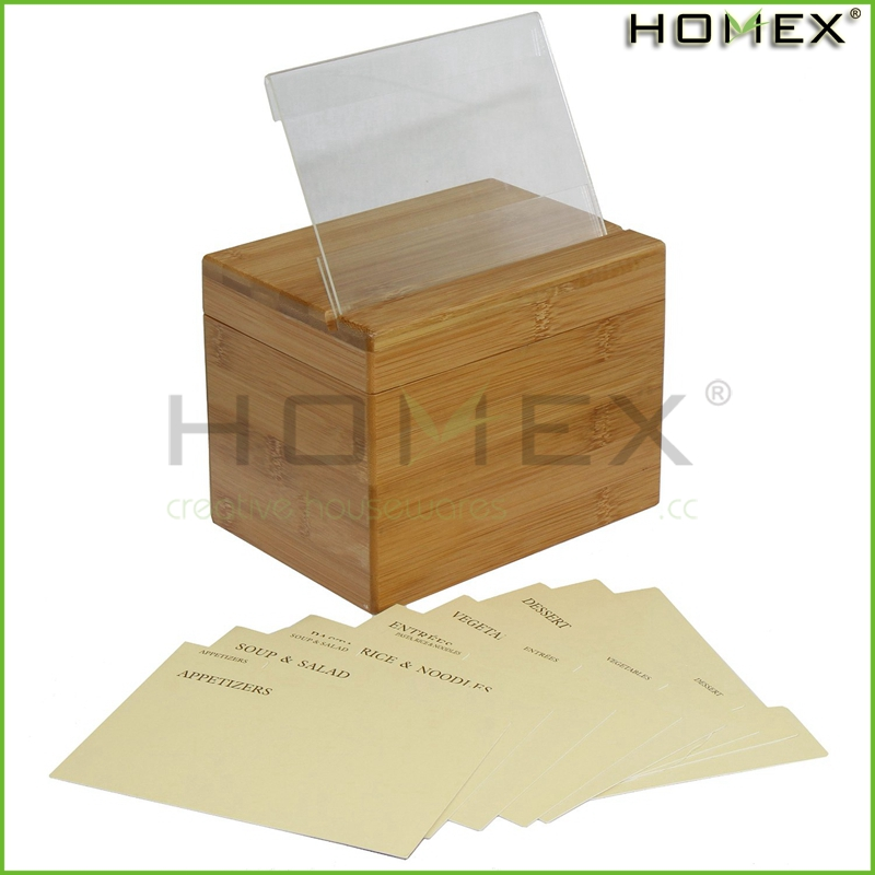 Bamboo Recipe Box With Card Dividers Homex BSCI/Factory
