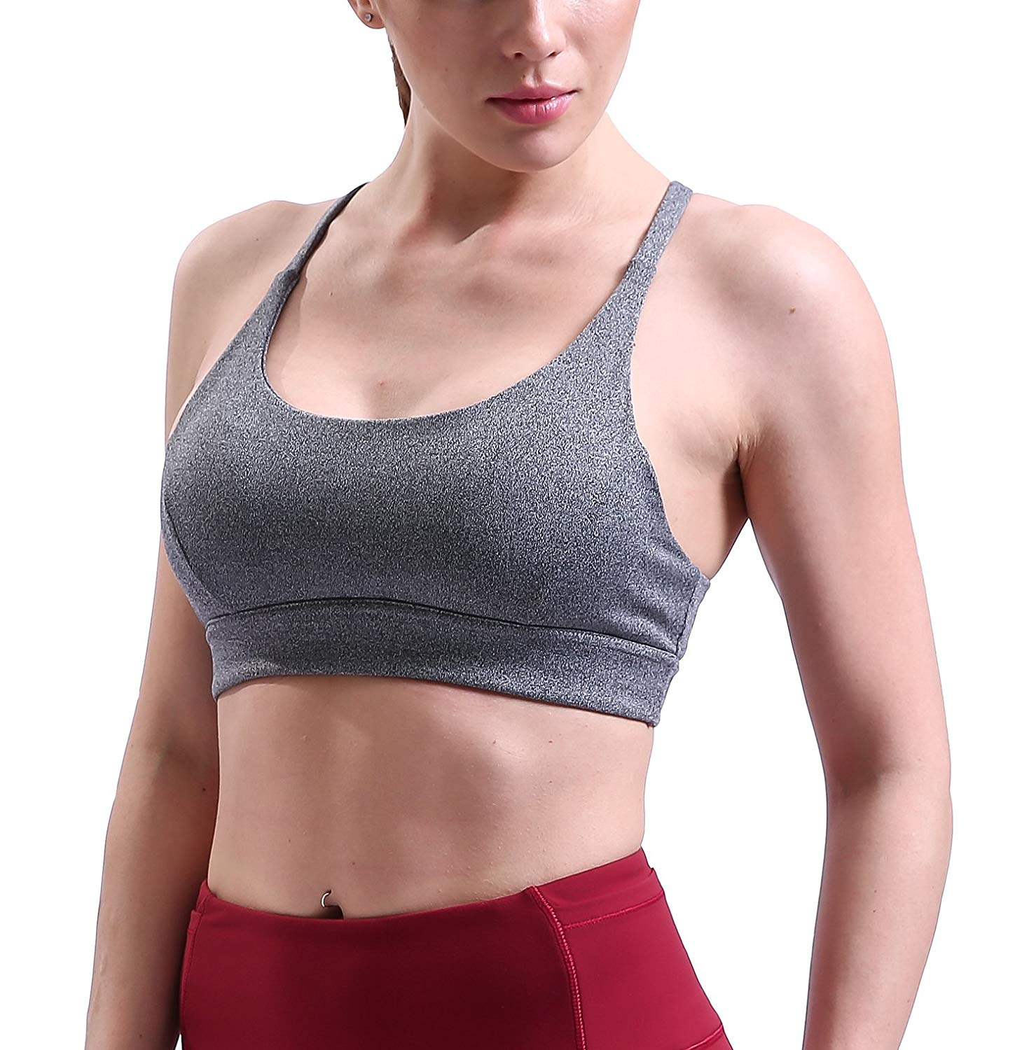 acb2b6e768 Get Quotations · OVESPORT Padded Sports Bras for Women- Wirefree Mesh  Performance Racerback Bras Yoga Running Workout