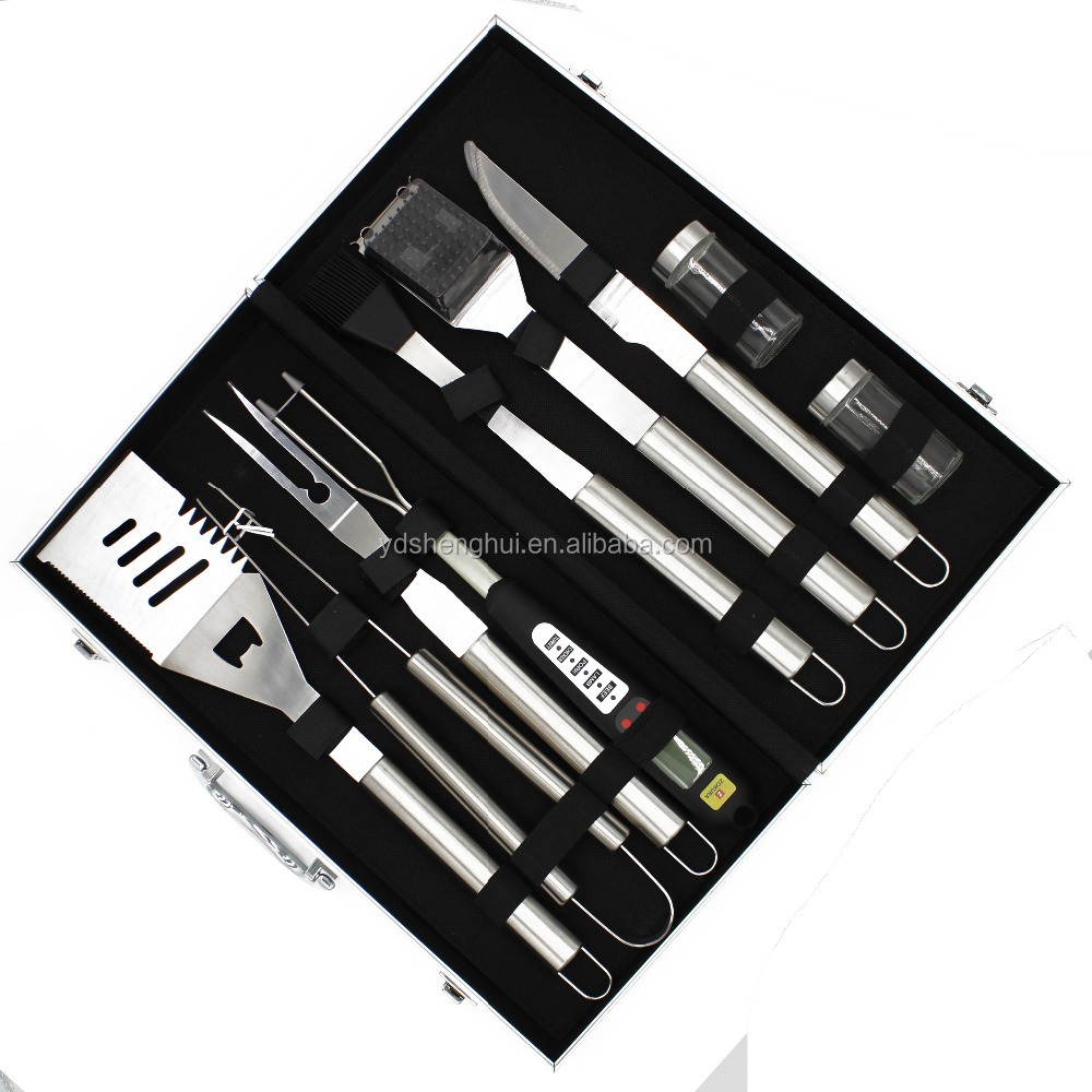 10pc Stainless Steel BBQ Tool Barbecue Utensil Camping Set Cutlery Garden Home