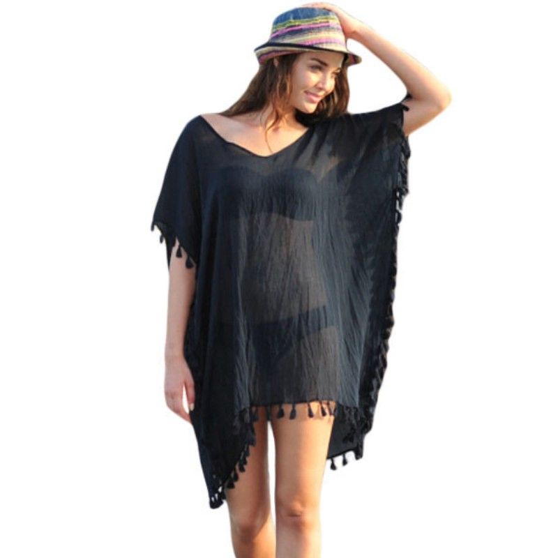 Zomer Vrouwen Beachwear Fashion See Through Losse Strand Badmode Cover Up Jurk Fashion Batwing Mouwen Tassel Hem Jurken A502