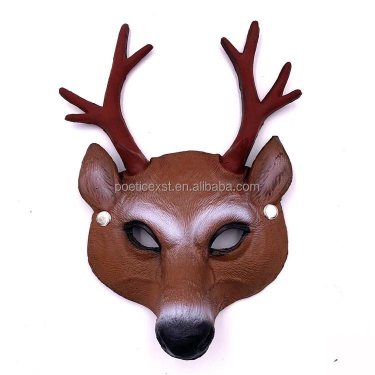 PoeticExst engraçado rosto cheio PU cervos máscara China fornecedor traje de Halloween máscara animais