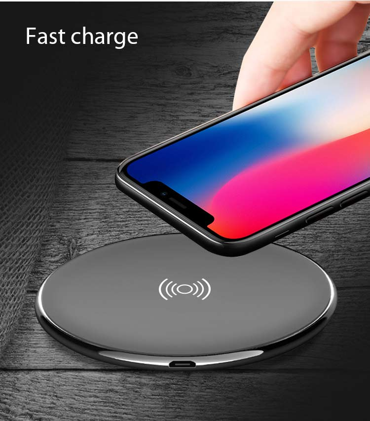 Round ultra-thin wireless charger, micro input wireless charger with 5V 1A