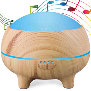 Factory Price Spa Bluetooth Aromatherapy Essential Oils Diffuser ,Ultrasonic Unsound Wooden Humidifiers with Colorful Change
