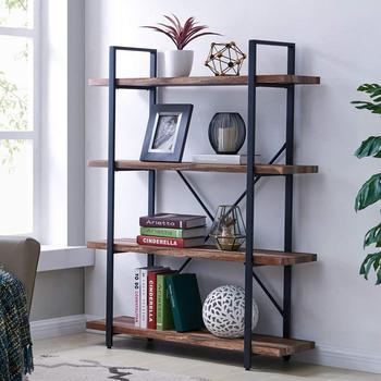 Modern Industrial Bookshelf Light Oak Shelves And White Metal Frame Open Storage Display Bookcases