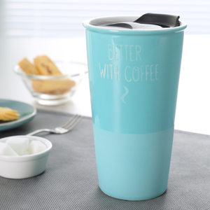 320ml coffee ceramic insulated travel mug with plastic lid