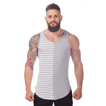 Free Shipping Summer Style Gray And White Stripe Sport  Tank tops Men Cotton Fashion Gym Tank Top Fitness Shirt