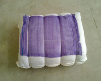 Violet 30x47 plastic Raschel knitted mesh bag with handle