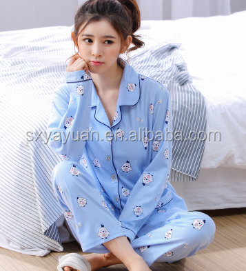 Best sell polyster factory women's silk knitted pajamas