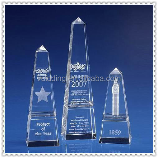 Customized 3D Crystal Laser Engraved Obelisk For Top Three Gifts