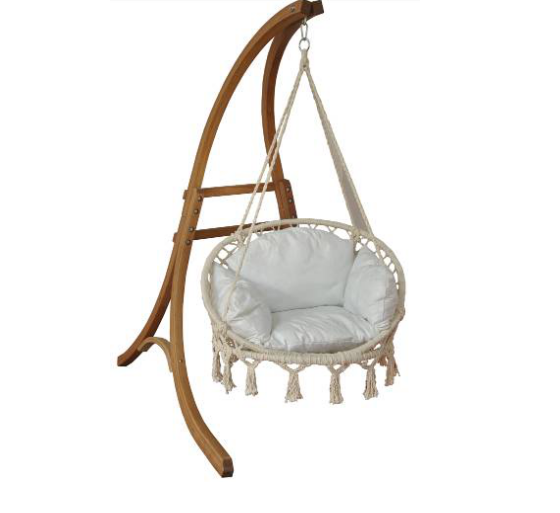 Outdoor Wooden Hanging Chaise Lounger Arc Stand Hammock Swing Chair