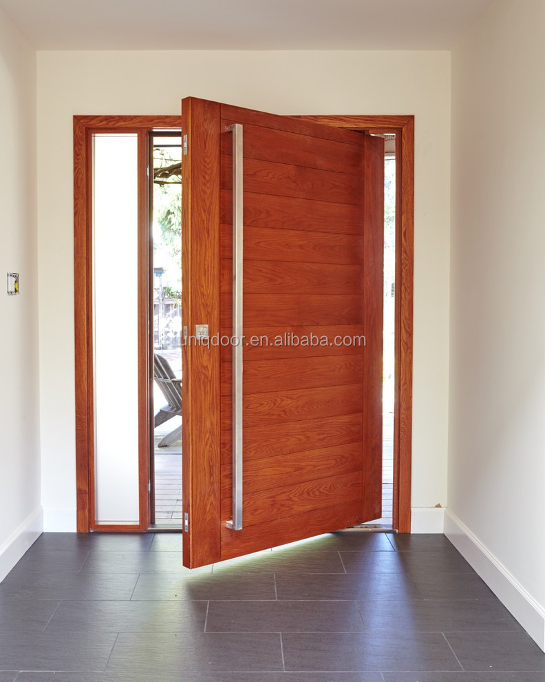 Meranti Solid Wood Glass Insert Pivot Entry Door With Side