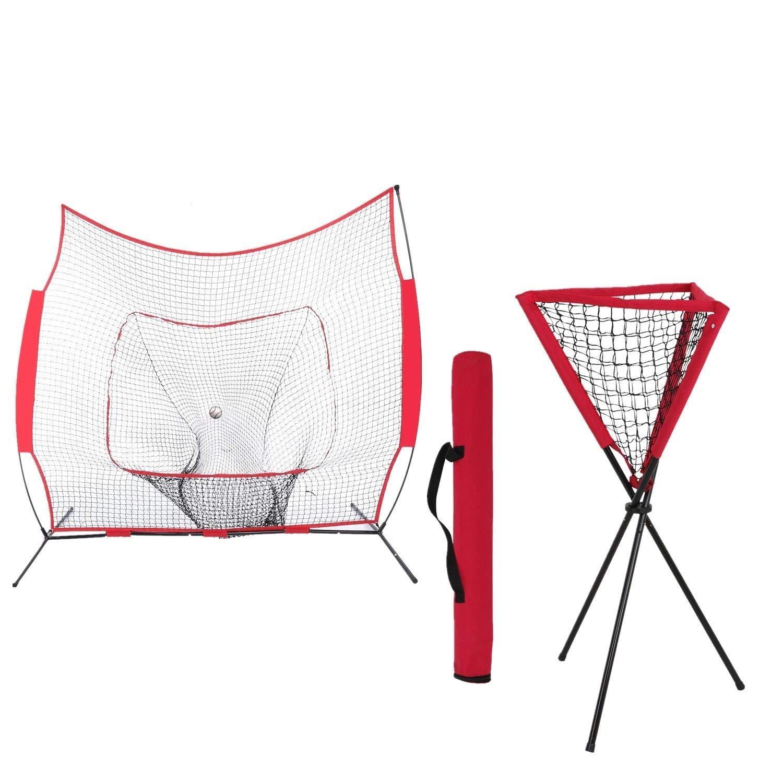 AyaMastro Outdoor 7FT x 7FT Hitting Baseball Softball Practice Batting Training Net w/Ball Caddy & Carry Bag with Ebook