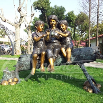 Metal Material Metal Craft Decorations Bronze Life Size Siting Three  Children Garden Figures Statue