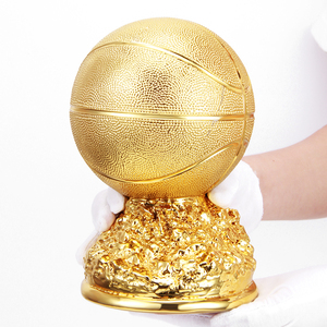 Cool award football sport golden football resin trophy full color like real football