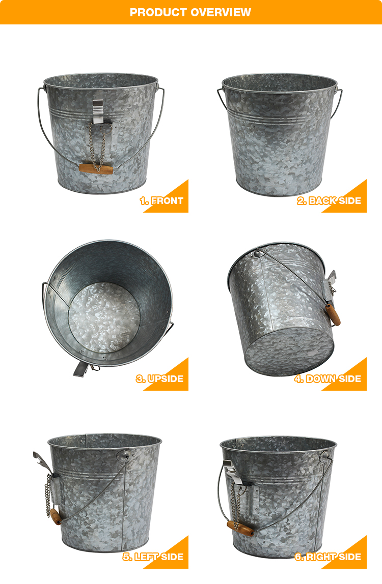 Galvanized Steel Party Beer Ice Bucket With Bottle Opener