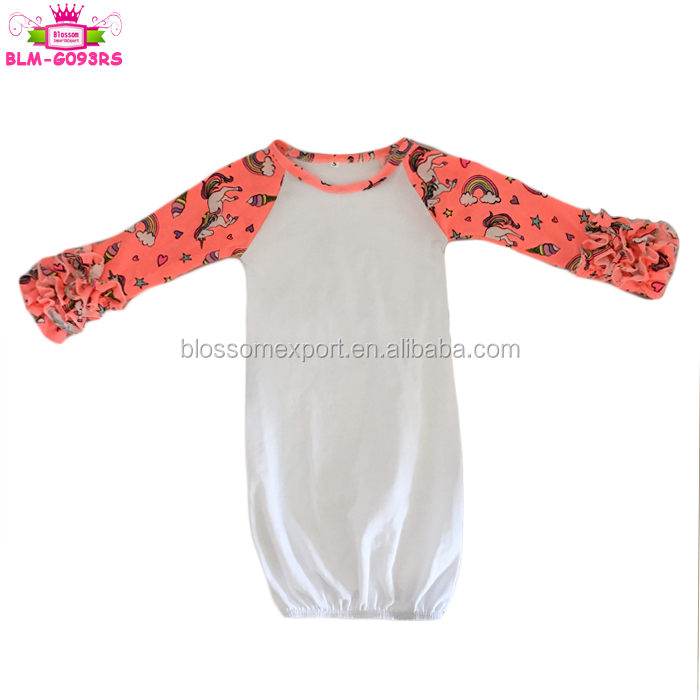 Pictures of latest gowns designs long sleeve clothes baby gown pattern print flower black body ruffle raglan infant night gowns