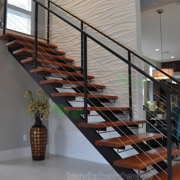 Industrial Metal Staircase Design: Contemporary Floating Staircase With Wood Tread Invisible