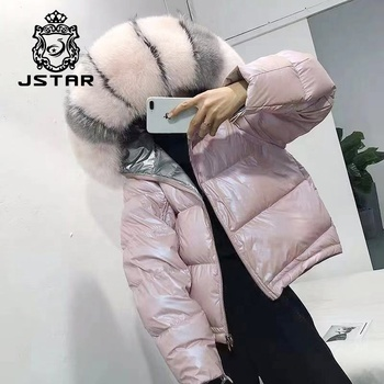 Women Winter Jacket Down Coat Real Fox Fur Collar Down Parka Outerwear Thick Warm Winter Clothing reversible fur coat