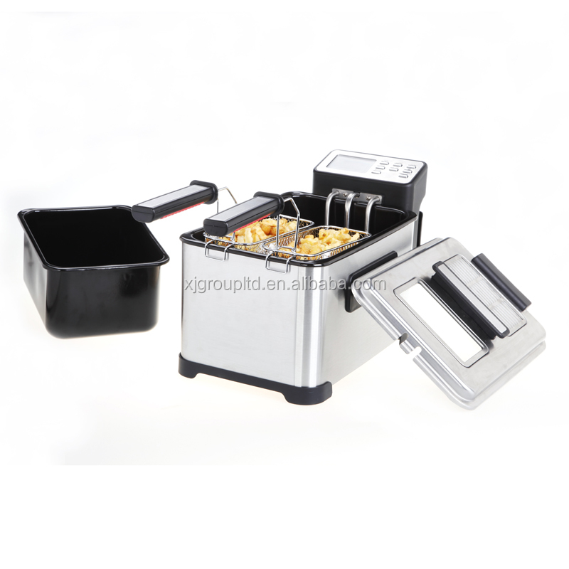 2000W 4.0L XJ-11301AO Deep Fryer with Enamel Coating Oil Tank and Glass Window & Filter Lid and Skidproof Basket Handle 2018 Hot