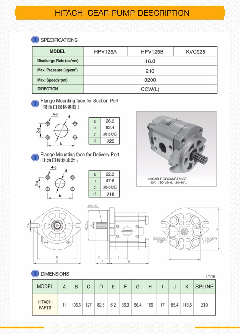 HITACHI 16.8+16.8+16.8 triple hydraulic pump pilot pump gear pump for HITACHI excavator