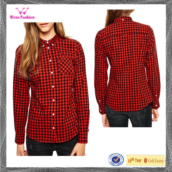 Women Black And White Check Shirt Girls Red Camel Checked Shirt ...