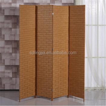 Interior Decorative Rattan Room Divider Folding Wood Privacy Screen