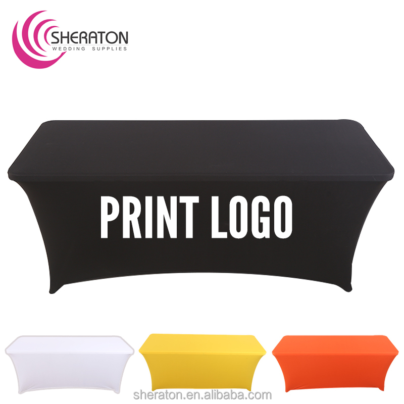 wholesale cheap trestle black spandex advertise table cover with printed logo / lycra elastic fitted rectangular table cloth