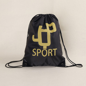 OEM Promotional 210D Polyester Durable Gold Printed Fabric Drawstring Bag Backpack
