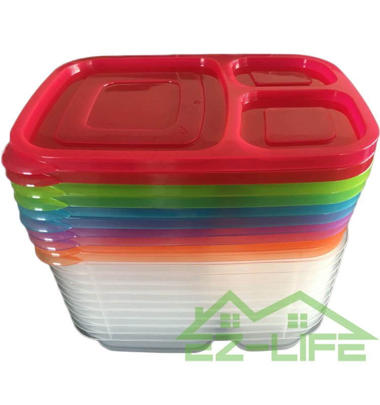 2016 new multi color 3 compartment bento lunch box with dividers