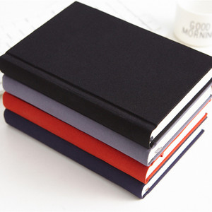 Custom Sewn Black Sketch Book Notebook With Fabric Pen Holder