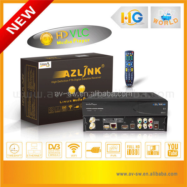 azlink <strong>HD</strong> S1 VLC media player DVB s2 with turbo 8PSK <strong>FTA</strong> <strong>satellite</strong> TV <strong>receiver</strong> build in linux operating system for north america