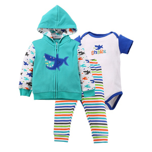 Baby boy Long Sleeve Clothes Set Cotton Outfit with short sleeve romper pants Sets