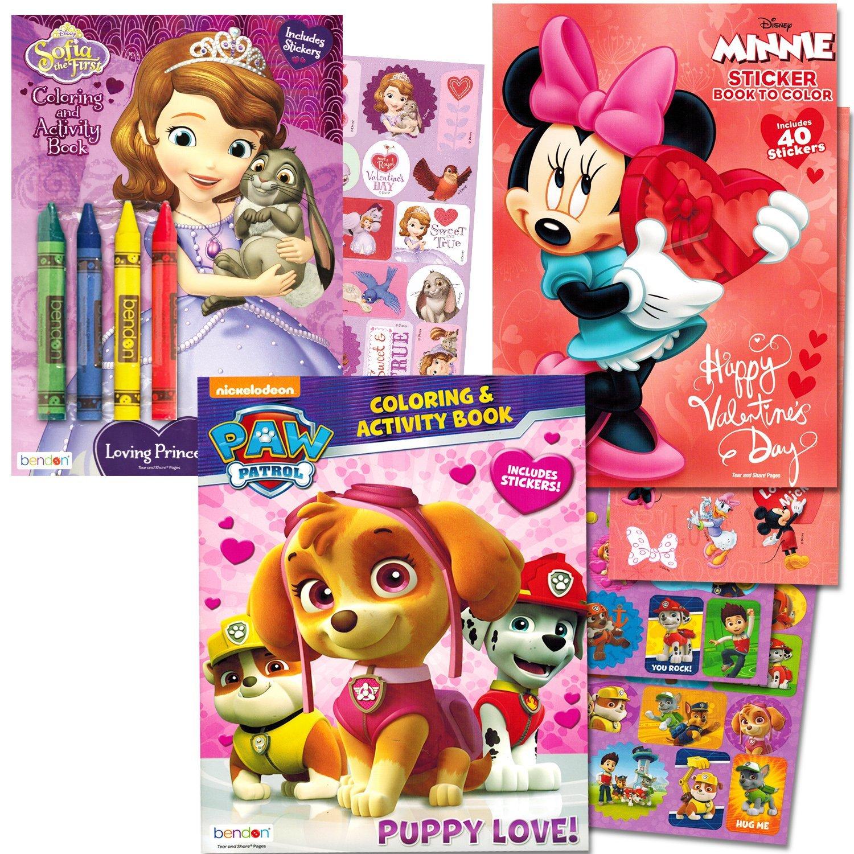 Valentines Day Coloring Books Super Set Paw Patrol Disney Minnie Mouse Sofia