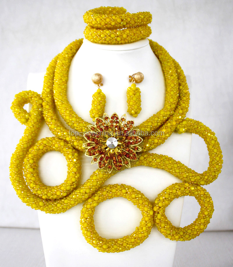 Nigerian Beads Afican Wedding Fashion Bride Beads Jewelry Necklace ...