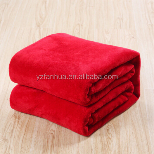 2015 Hot Sale Solid Color Plain Dyed Red Coral fleece Bed Blanket