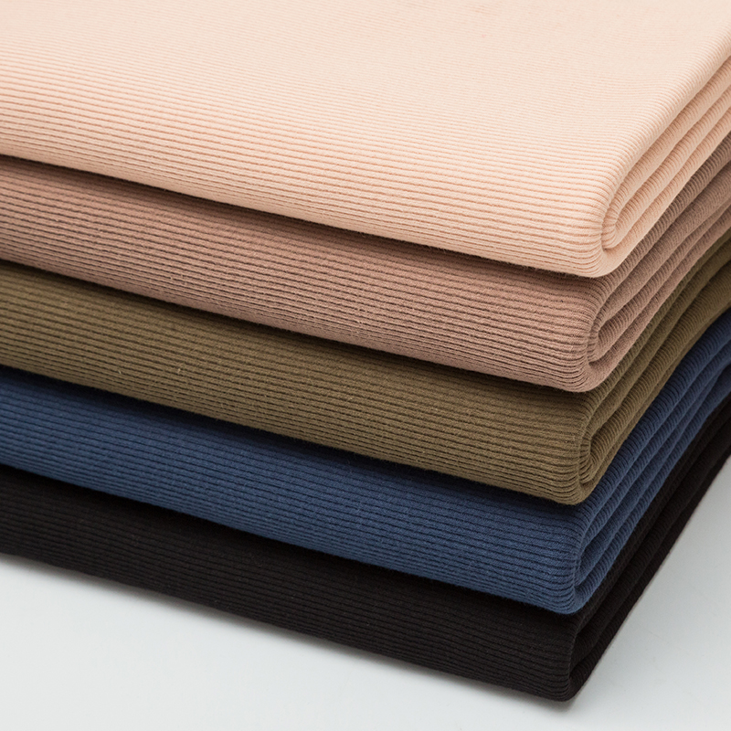 High quality 94% cotton 6% spandex knitted elastic rib textile fabrics