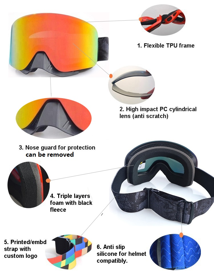 0269e79fa4f7 Adults Fashion Custom brand Snow Ski Goggles With Nose Guard.